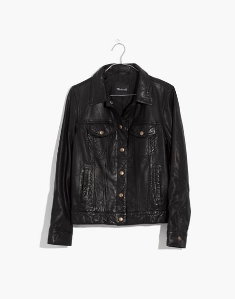 Washed Leather Trucker Jacket in true black image 4