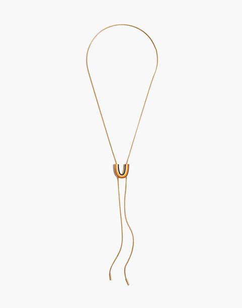 Enamel Rainbow Bolo Necklace in vintage gold image 2
