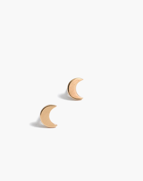 Vermeil Crescent Moon Stud Earrings in vermeil image 1