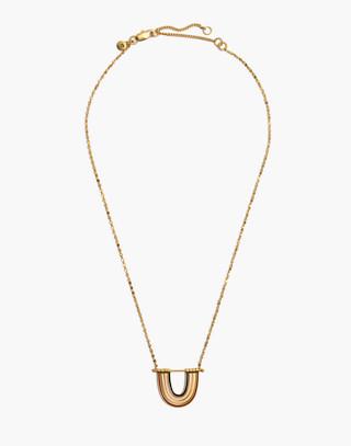Enamel Rainbow Necklace in vintage gold image 2