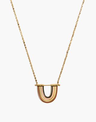 Enamel Rainbow Necklace in vintage gold image 1