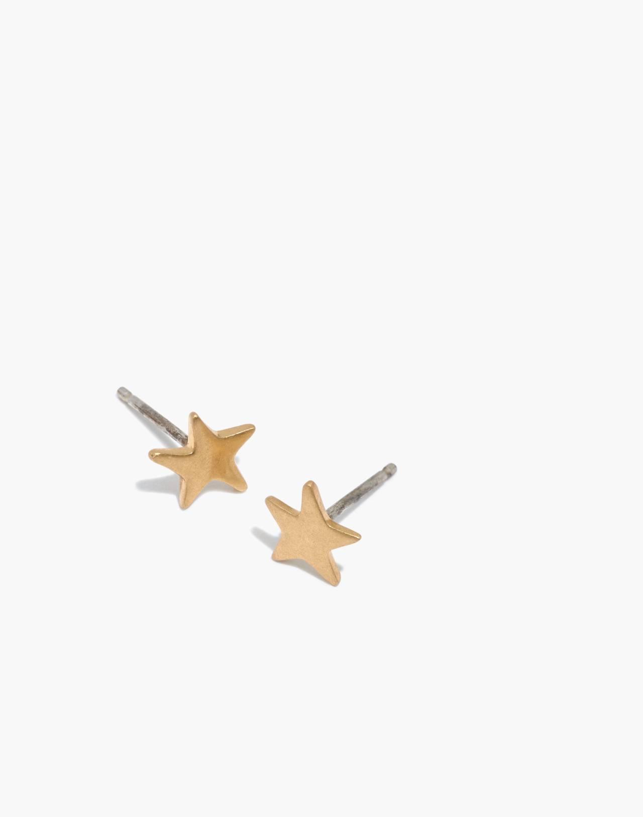 Mini Star Stud Earrings in vintage gold image 1