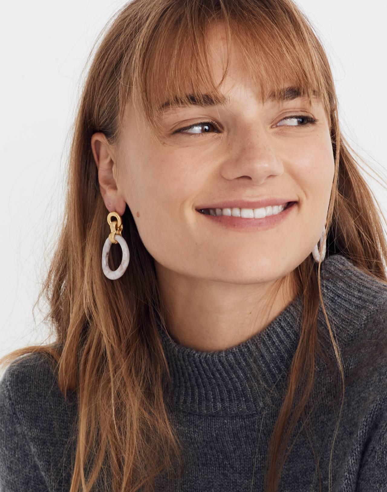 Acrylic Link Earrings in blush tort image 2