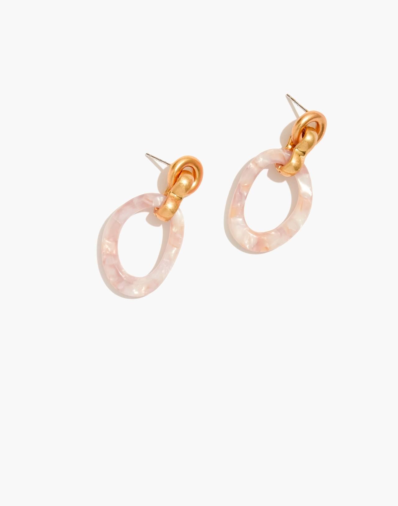Acrylic Link Earrings in blush tort image 1