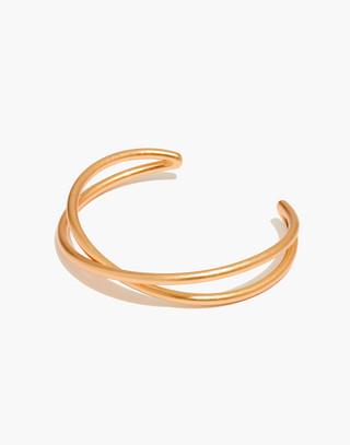 Crossover Cuff Bracelet in vintage gold image 1