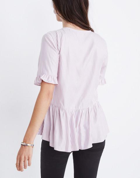 Studio Ruffle-Hem Top in Lavender Stripe in serene lavender image 3