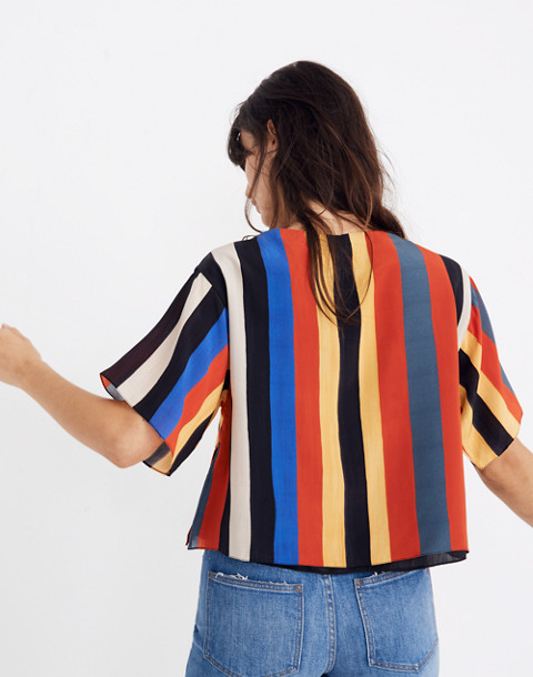 Whit® Silk Neil Tee in Camera Stripe in multi stripe image 2