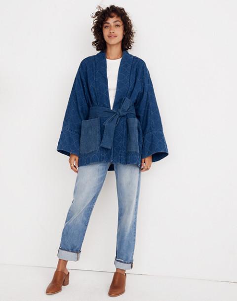 Whit® Denim Kimono Jacket in indigo image 2