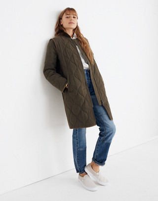 Quilted Military Coat in kale image 3