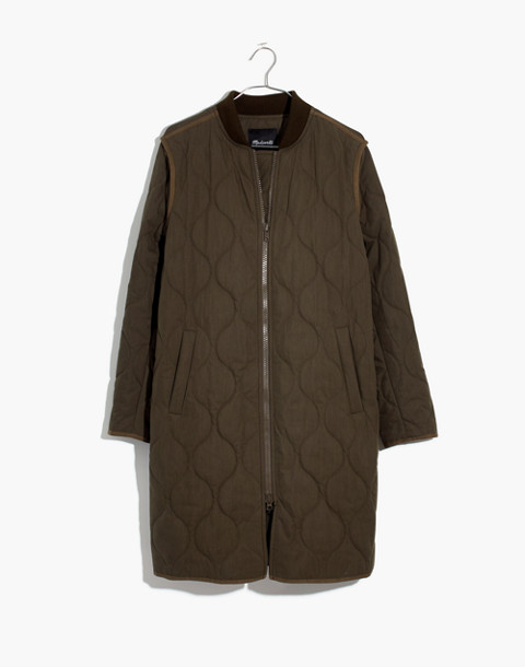 Quilted Military Coat in kale image 4