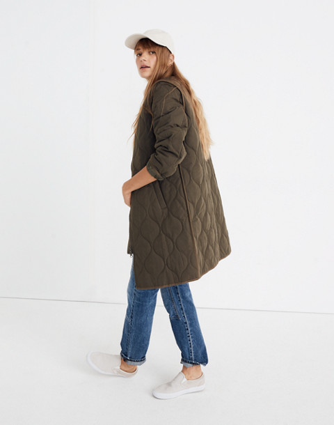 Quilted Military Coat in kale image 1