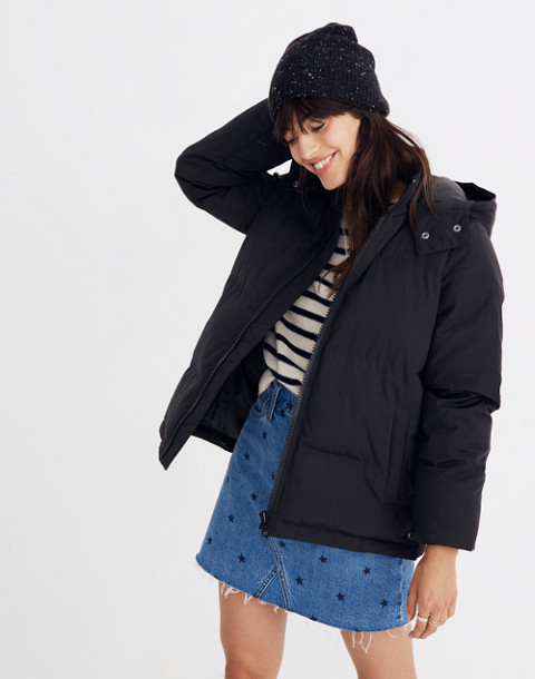 Quilted Puffer Parka in true black image 1