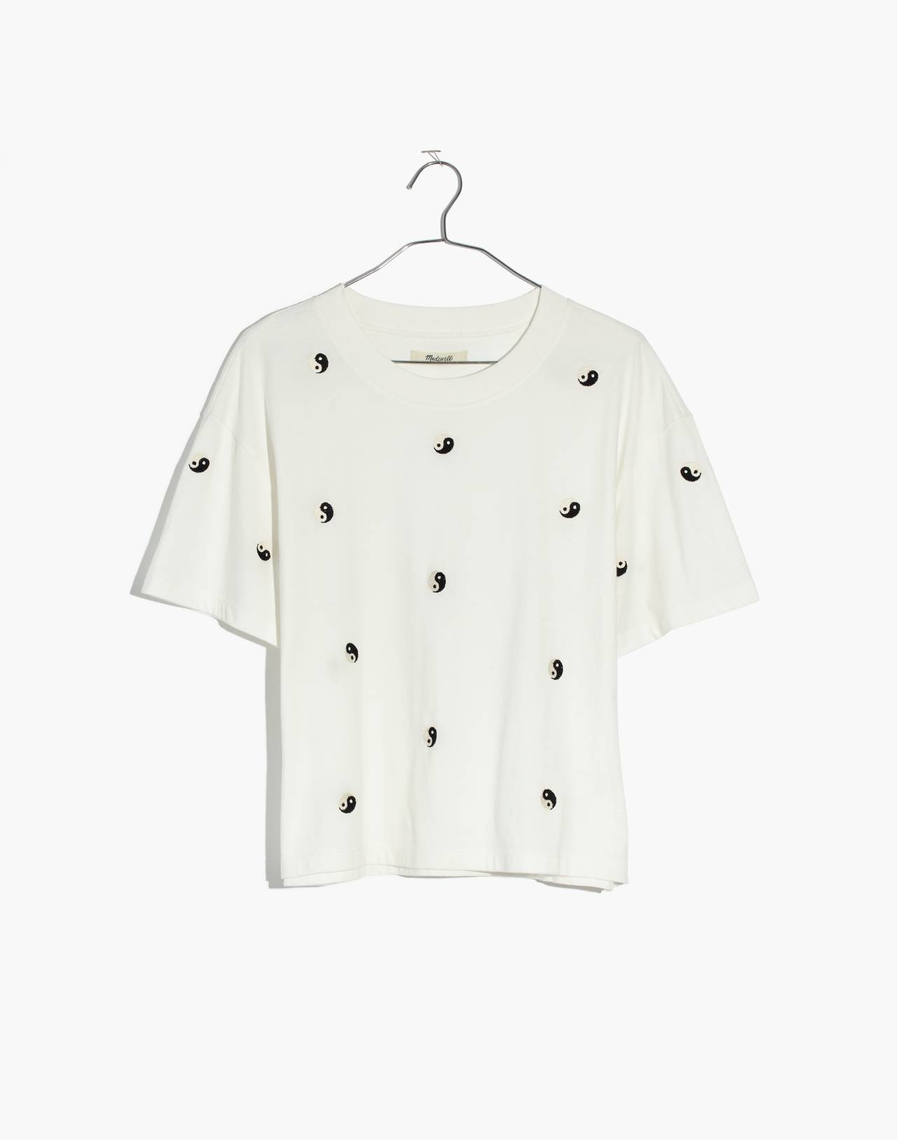 Embroidered Yin-Yang Easy Crop Tee in yin white wash image 4