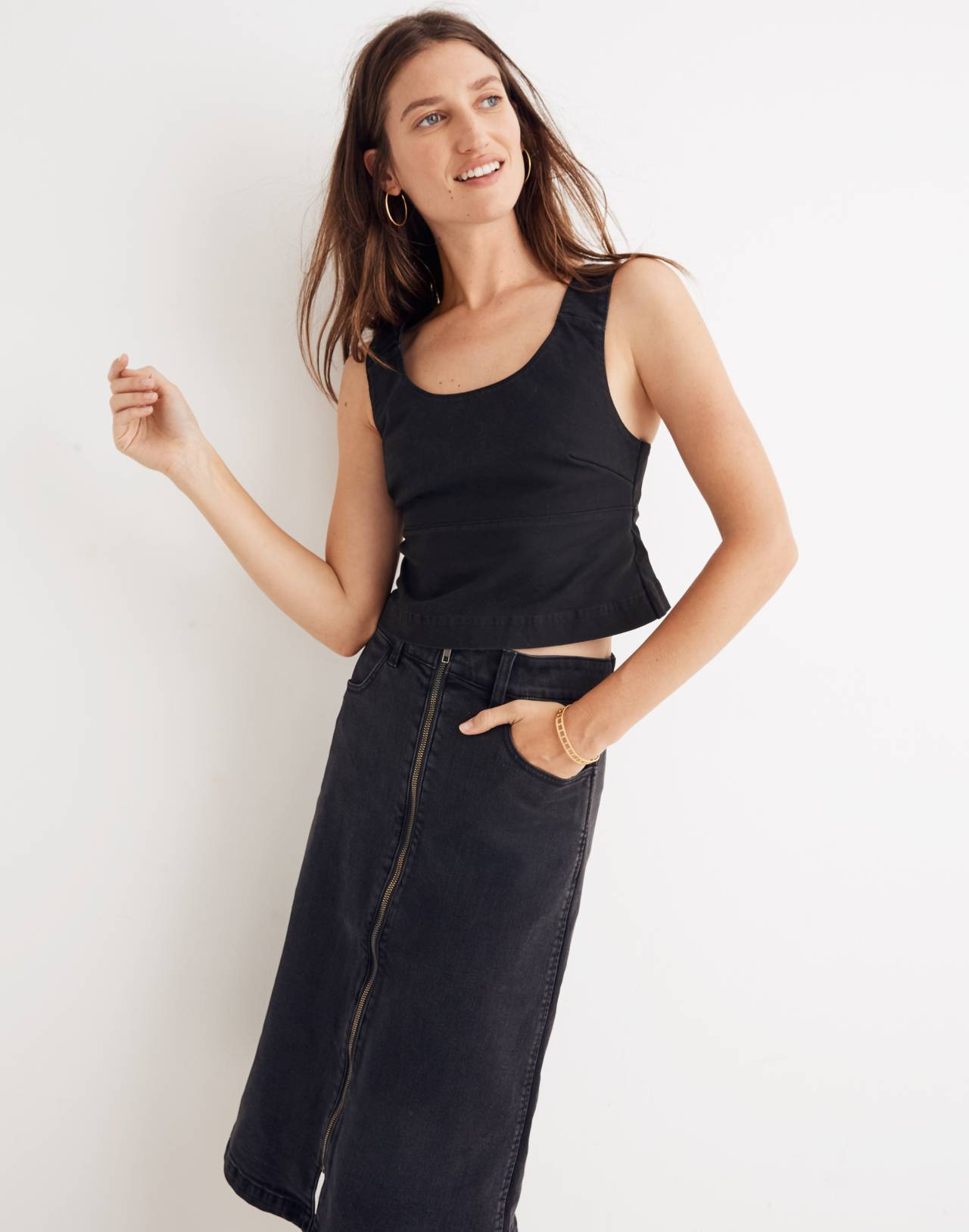 Structured Crop Top in classic black image 1