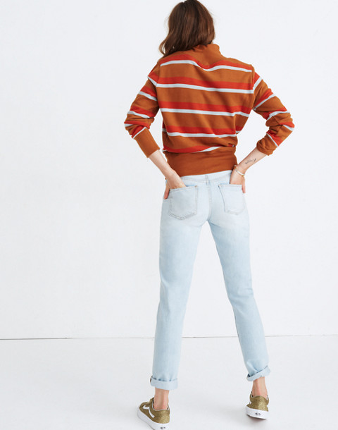 Turtleneck Sweatshirt in Stripe in burnt sienna image 2