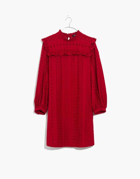 Eyelet Mockneck Ruffle Dress in deep crimson image 4