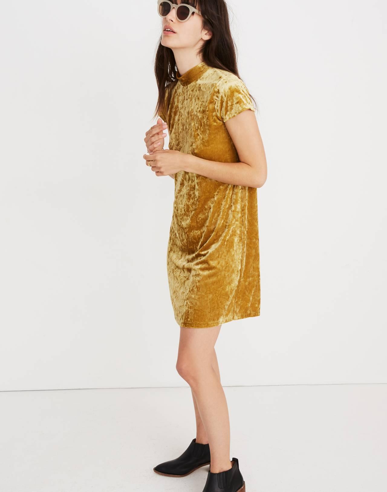 Crushed Velvet Mockneck Dress in bronzed amber image 2