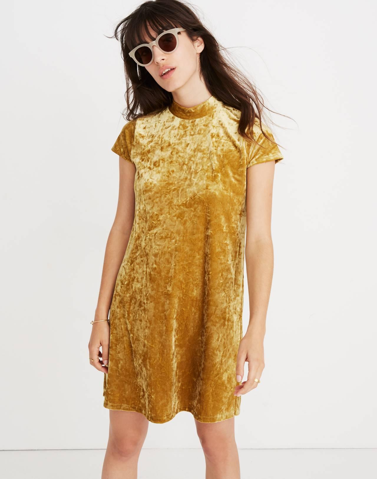 Crushed Velvet Mockneck Dress in bronzed amber image 3