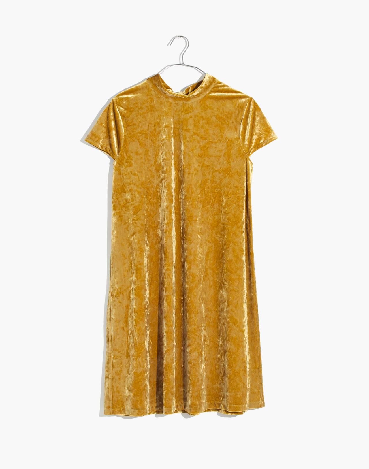 Crushed Velvet Mockneck Dress in bronzed amber image 4