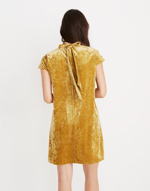 Crushed Velvet Mockneck Dress in bronzed amber image 1