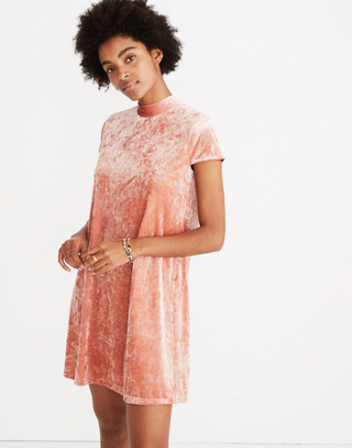 Crushed Velvet Mockneck Dress in afterglow red image 2