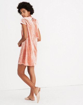 Crushed Velvet Mockneck Dress in afterglow red image 3