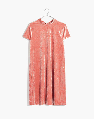 Crushed Velvet Mockneck Dress in afterglow red image 4