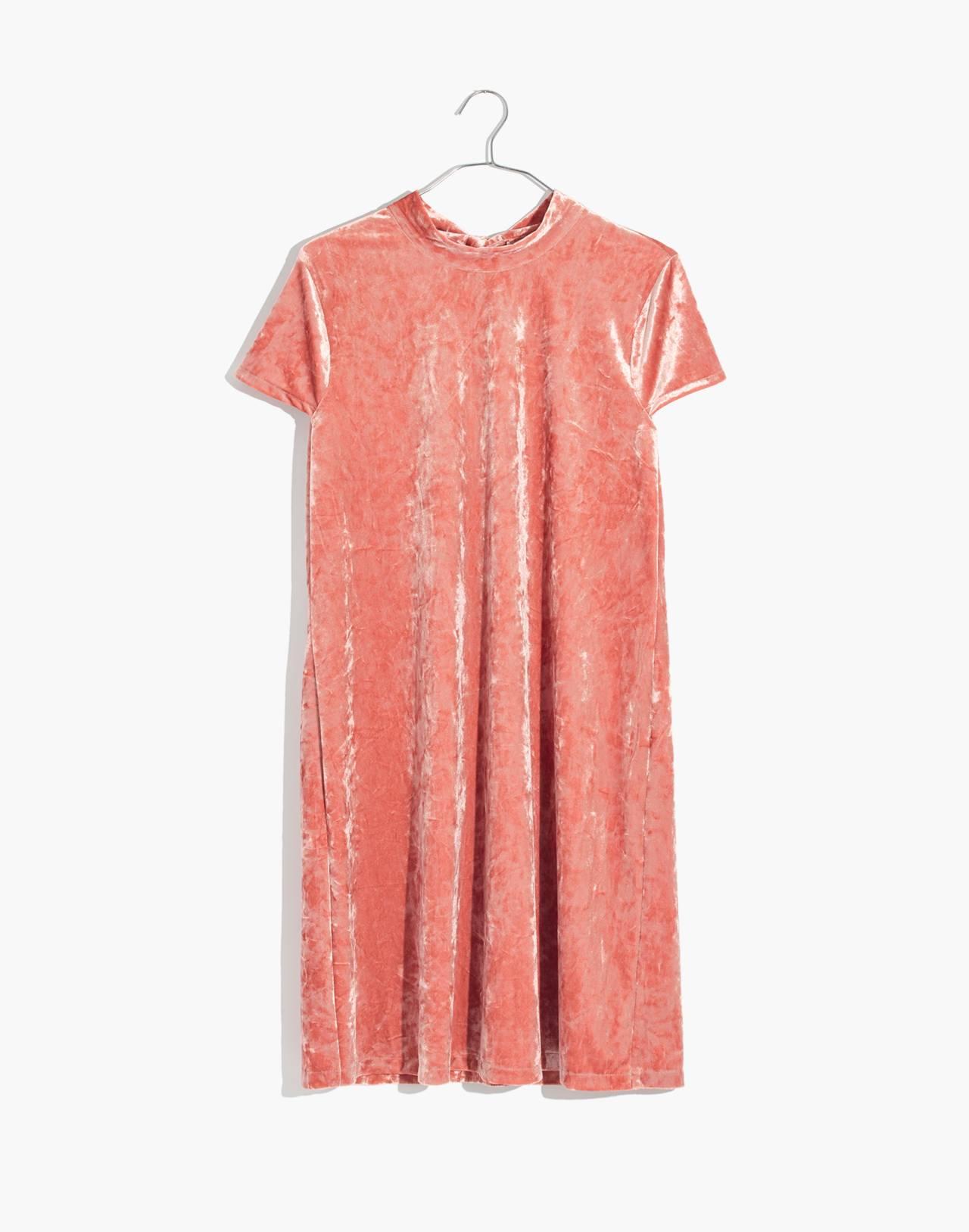 Crushed Velvet Mockneck Dress in afterglow red image 4