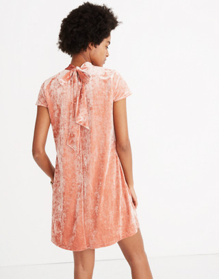Crushed Velvet Mockneck Dress in afterglow red image 1