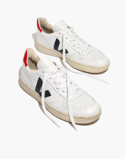 Veja™ Men's V-10 Sneakers in white red blue image 2