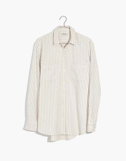Flannel Sunday Shirt in Stripe in pearl ivory image 4