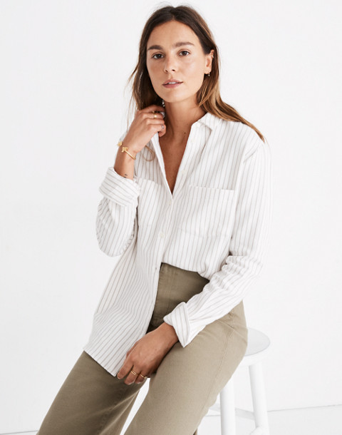 Flannel Sunday Shirt in Stripe in pearl ivory image 1