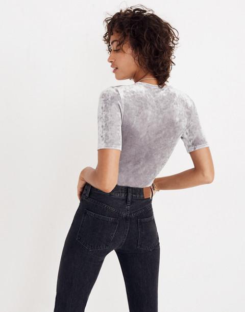 Crushed Velvet Short-Sleeve Bodysuit in stonewall image 2