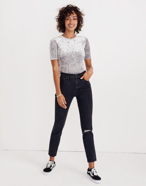 Crushed Velvet Short-Sleeve Bodysuit in stonewall image 3