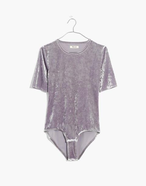 Crushed Velvet Short-Sleeve Bodysuit in stonewall image 4