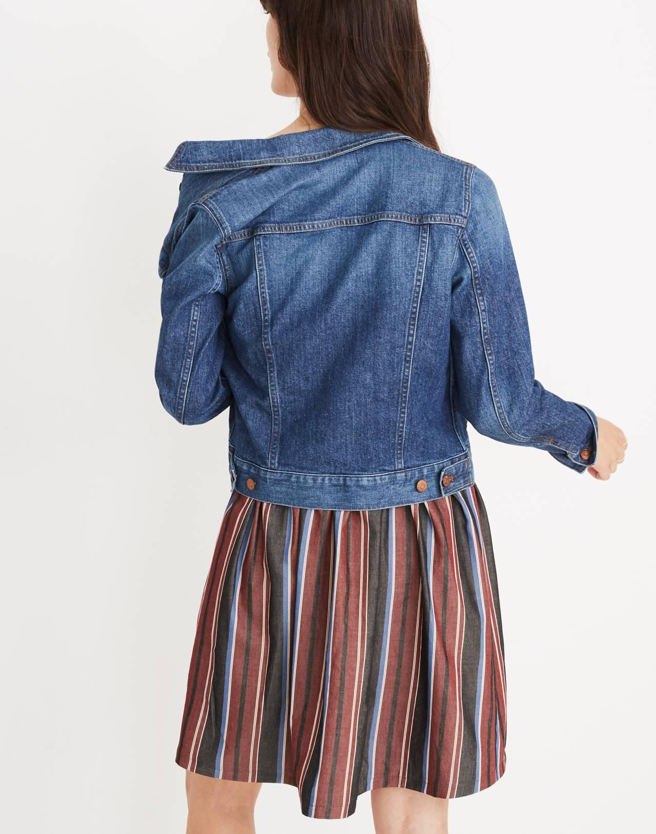 The Shrunken Stretch Jean Jacket: Eco Edition in vintage light image 3