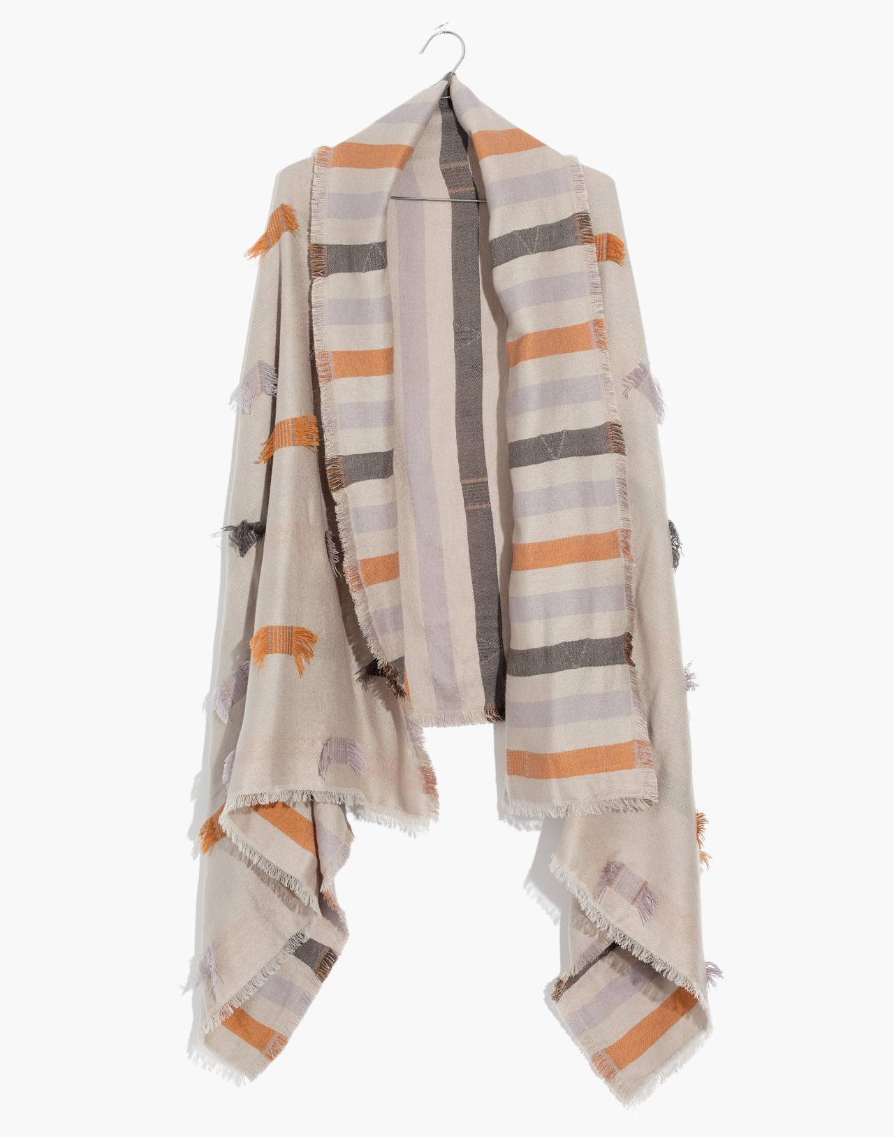 Fringe-Stripe Jacquard Scarf in smoked graphite multi image 1