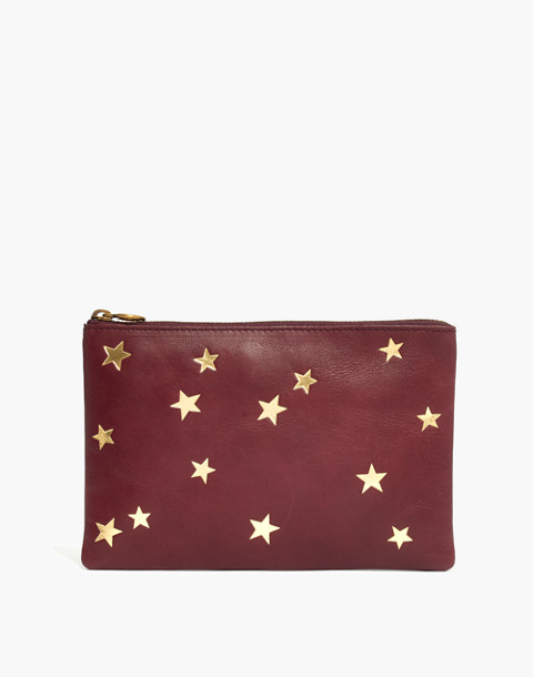 The Leather Pouch Clutch: Star Embossed Edition in dark cabernet image 1
