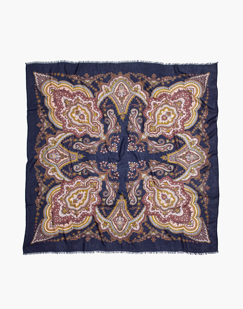 Oversized Paisley Square Scarf in blue night image 2