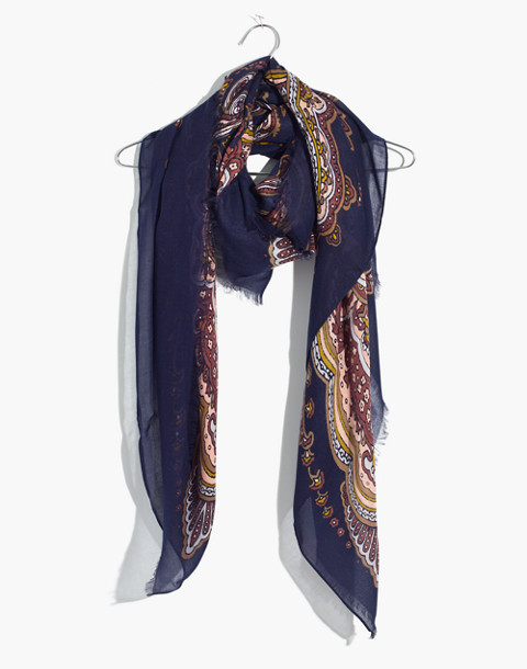 Oversized Paisley Square Scarf in blue night image 1