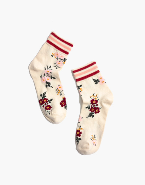 Athletic Stripe Sweet Blossoms Ankle Socks in champagne multi image 1