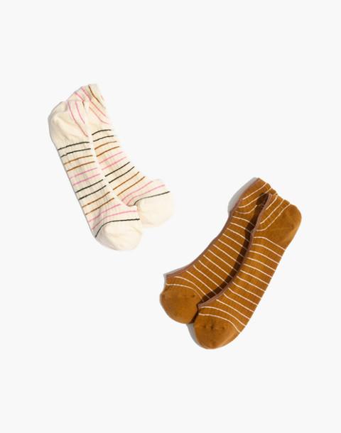 Two-Pack Multi-Stripe Low Profile Socks in egyptian gold multi image 1