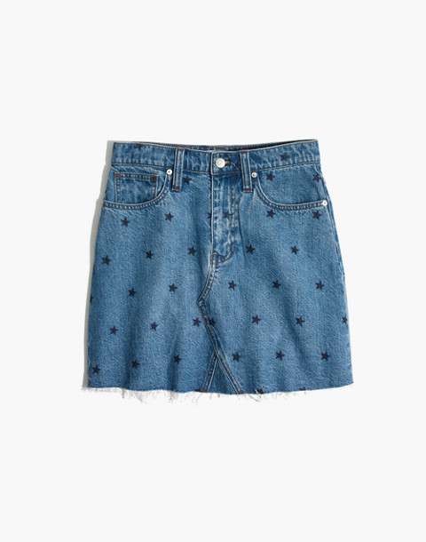 Rigid Denim A-Line Mini Skirt: Star Print Edition in selvedge image 4
