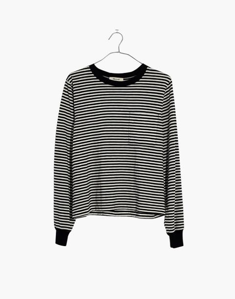Striped Long-Sleeve Tee in true black image 4