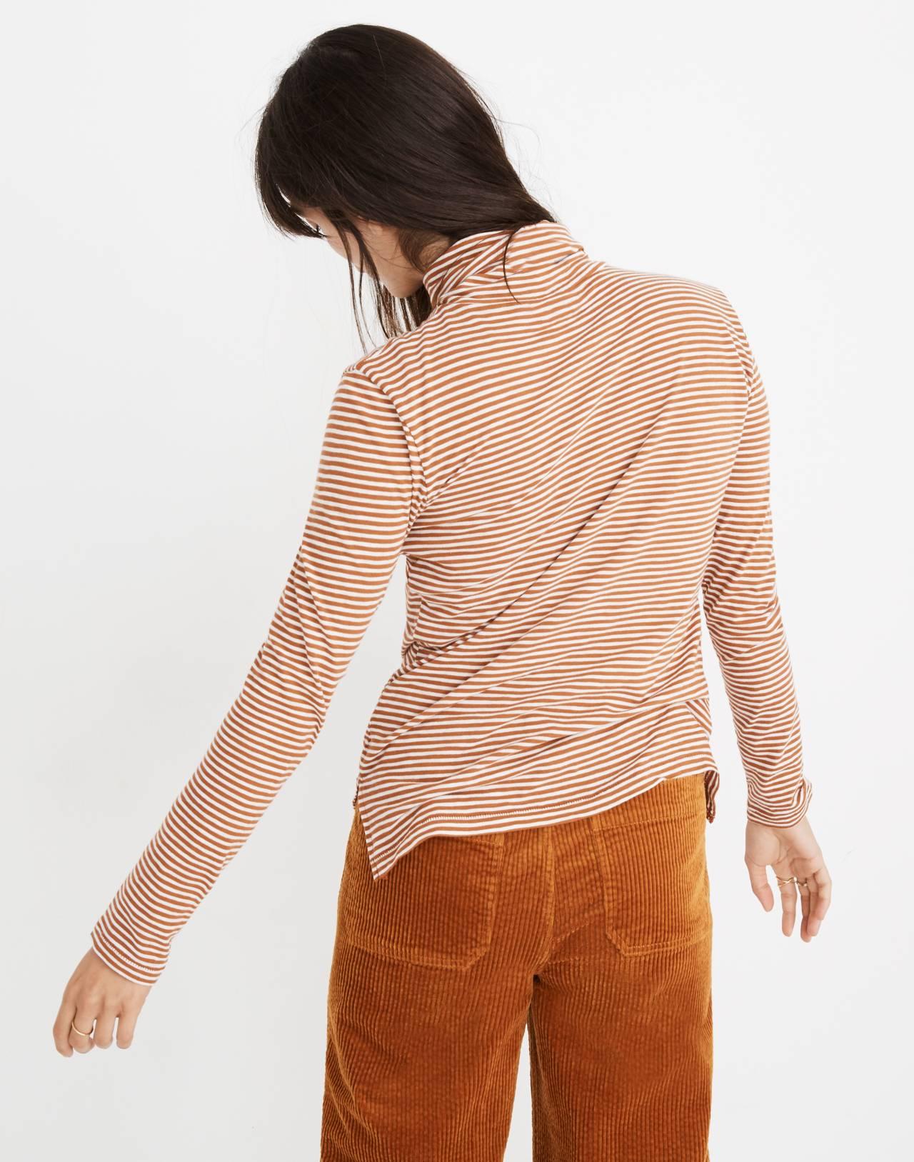Whisper Cotton Turtleneck in Daniela Stripe in warm nutmeg image 3