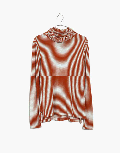 Whisper Cotton Turtleneck in Daniela Stripe in warm nutmeg image 4