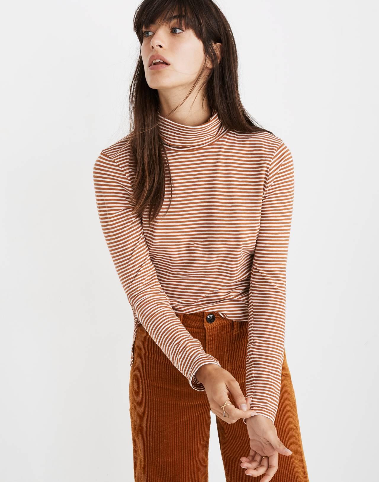 Whisper Cotton Turtleneck in Daniela Stripe in warm nutmeg image 1