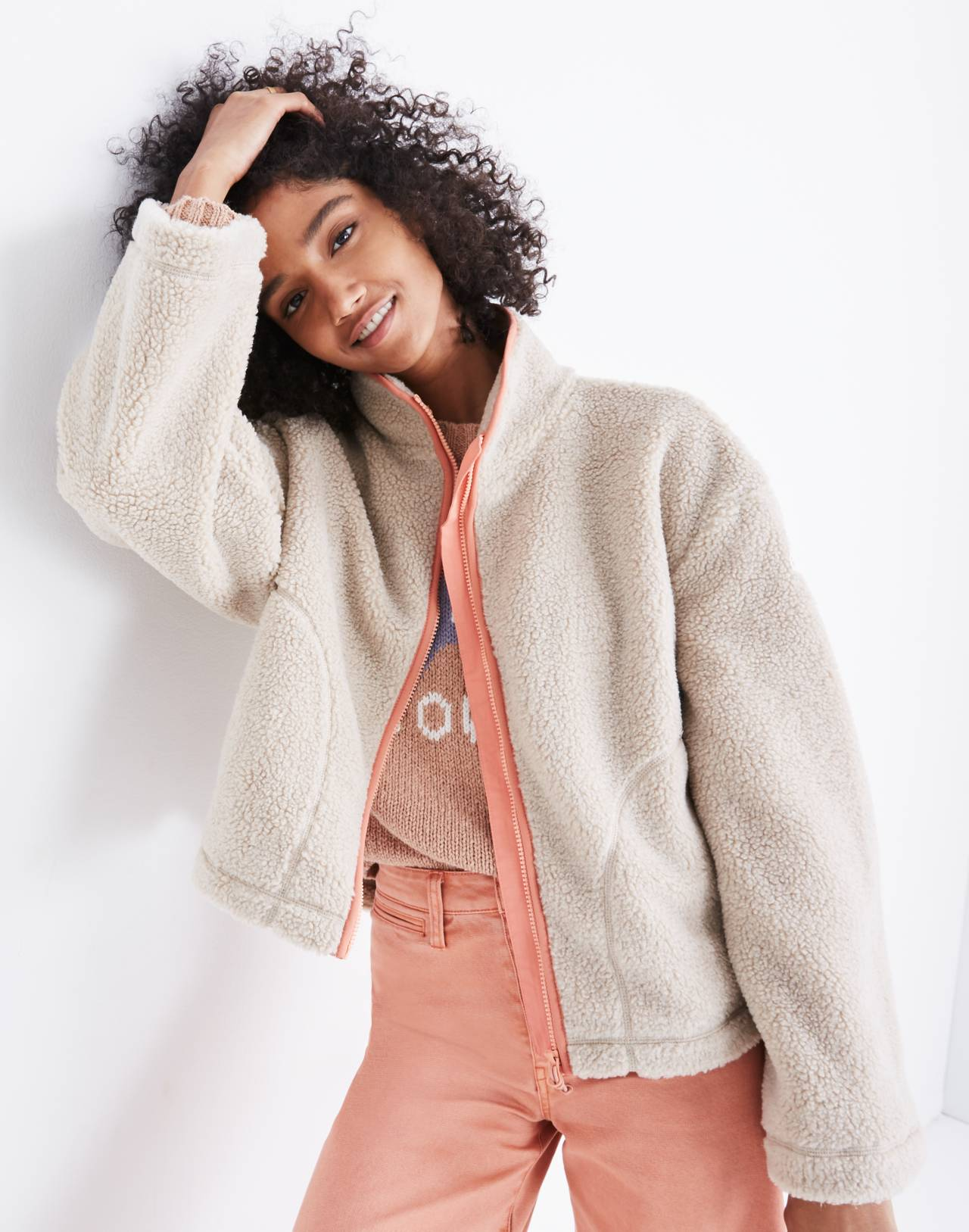 Madewell x Penfield® Haight Fleece Jacket in ivory pink image 1