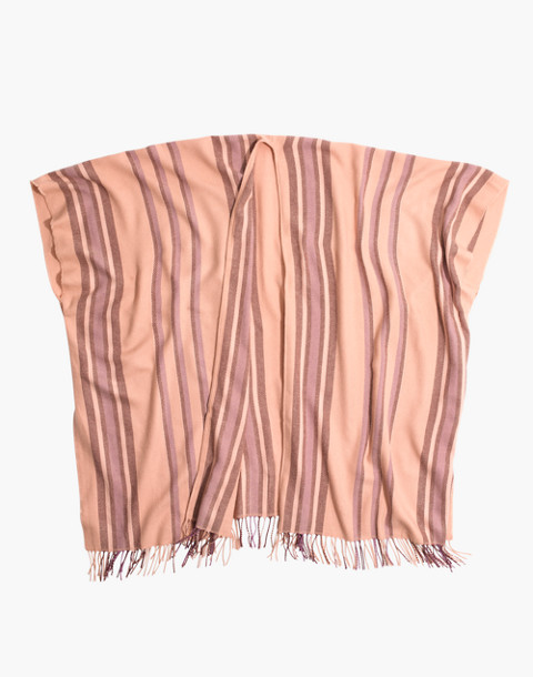 Placed Stripe Poncho Scarf in desert camel multi image 2