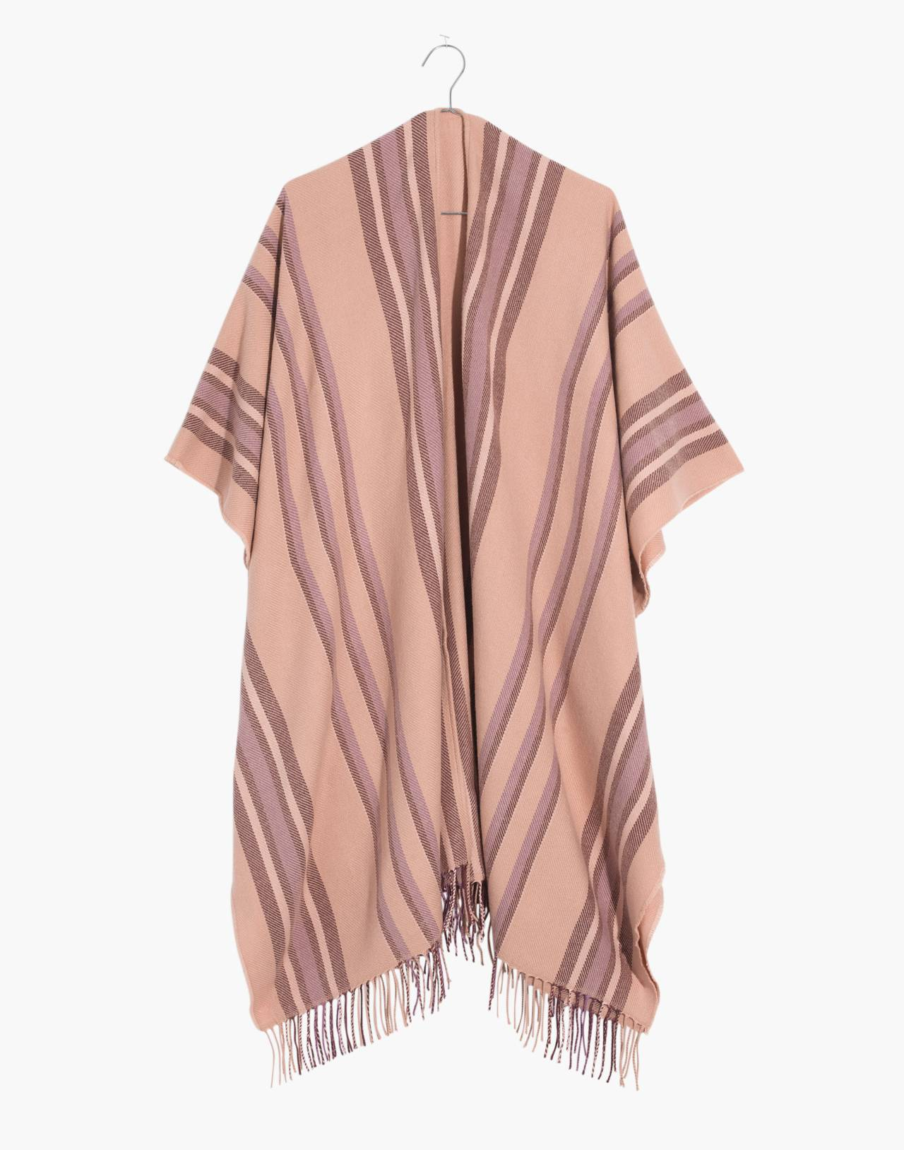 Placed Stripe Poncho Scarf in desert camel multi image 1